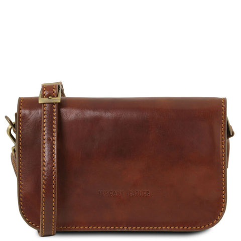 Tuscany Leather Classic 'Carmen' Leather Shoulder Bag with Flap - Made in Tuscany