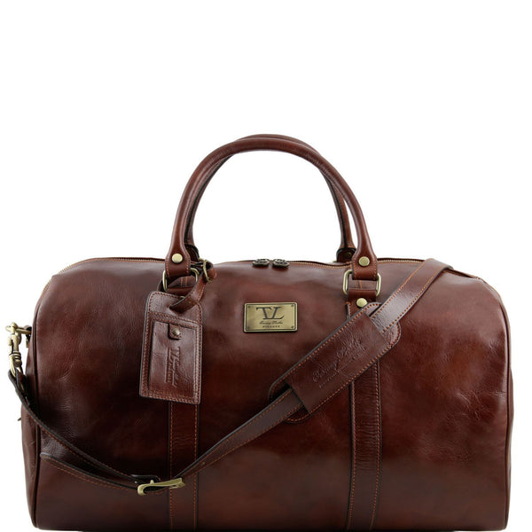Tuscany Leather 'TL Voyager' Travel Leather Duffle Bag - Large (TL141247) Duffle Bag Tuscany Leather Brown