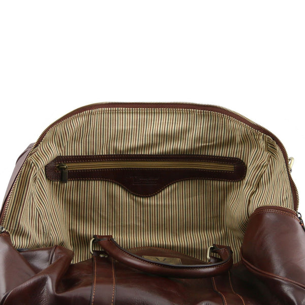 Tuscany Leather 'TL Voyager' Travel Leather Duffle Bag - Small - Made in Tuscany