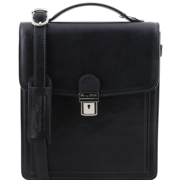 Tuscany Leather 1st Class 'David' Men's Leather Crossbody Bag - Large Messenger Bag Tuscany Leather Black