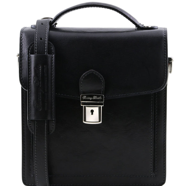 Tuscany Leather 1st Class 'David' Men's Leather Crossbody Bag - Small Messenger Bag Tuscany Leather Black