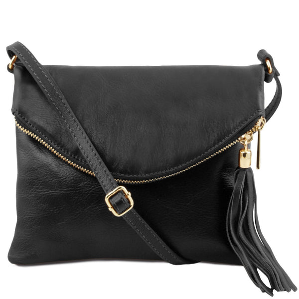 Tuscany Leather 'TL Bag' Young Shoulder Bag With Tassel (TL141153) Ladies Shoulder Bag Tuscany Leather Black