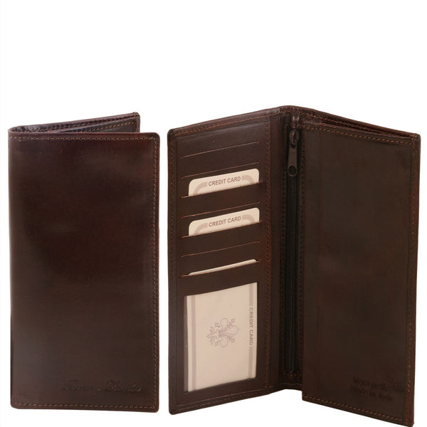 Tuscany Leather Exclusive Classic 2 Fold Leather Vertical Men's Wallet (TL140777) Wallets Tuscany Leather Dark Brown