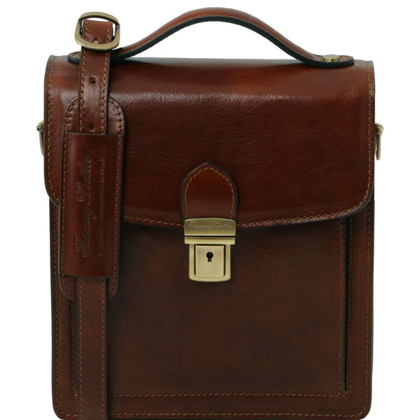 Tuscany Leather 1st Class 'David' Men's Leather Crossbody Bag - Small Messenger Bag Tuscany Leather Brown