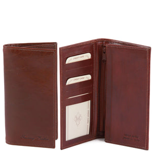 Tuscany Leather Exclusive Classic 2 Fold Leather Vertical Men's Wallet (TL140777) - Made in Tuscany
