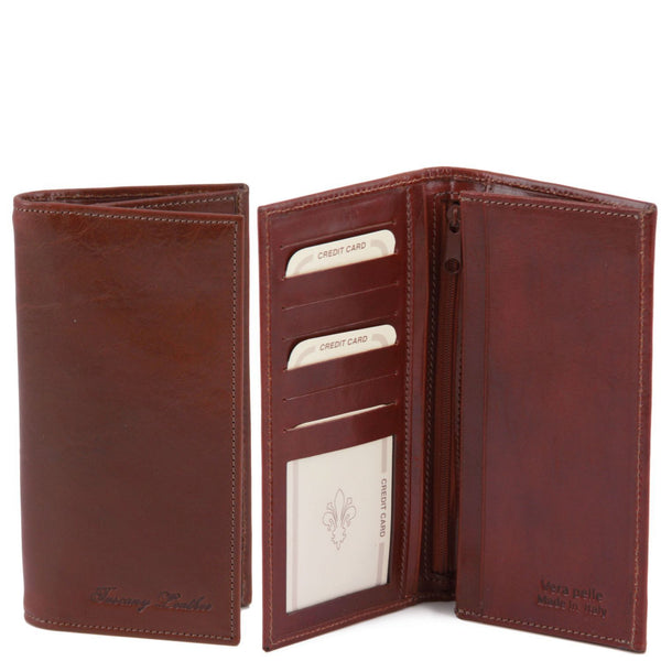 Tuscany Leather Exclusive Classic 2 Fold Leather Vertical Men's Wallet (TL140777) Wallets Tuscany Leather Brown