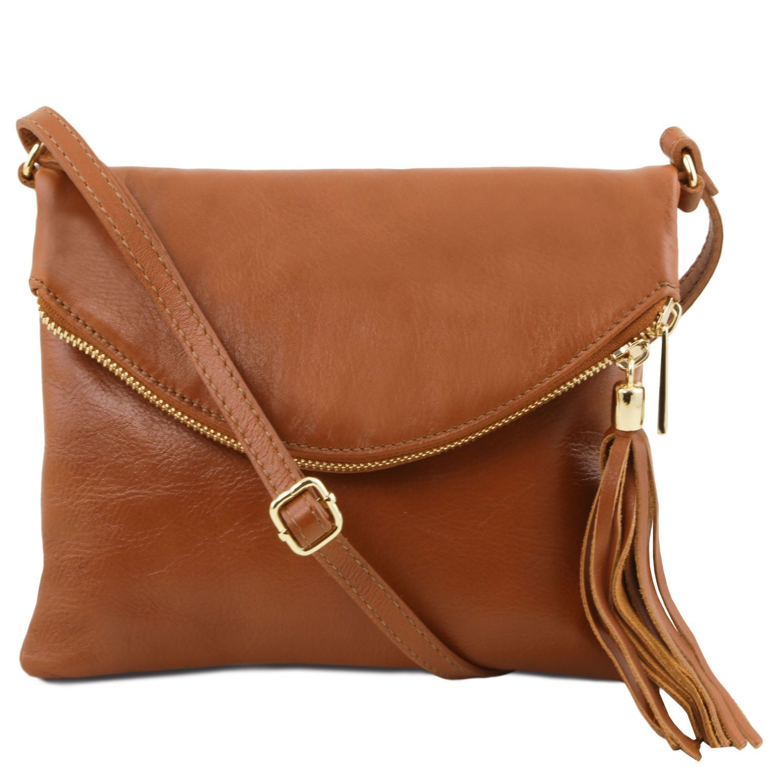Tuscany Leather 'TL Bag' Young Shoulder Bag With Tassel (TL141153) Ladies Shoulder Bag Tuscany Leather Cognac