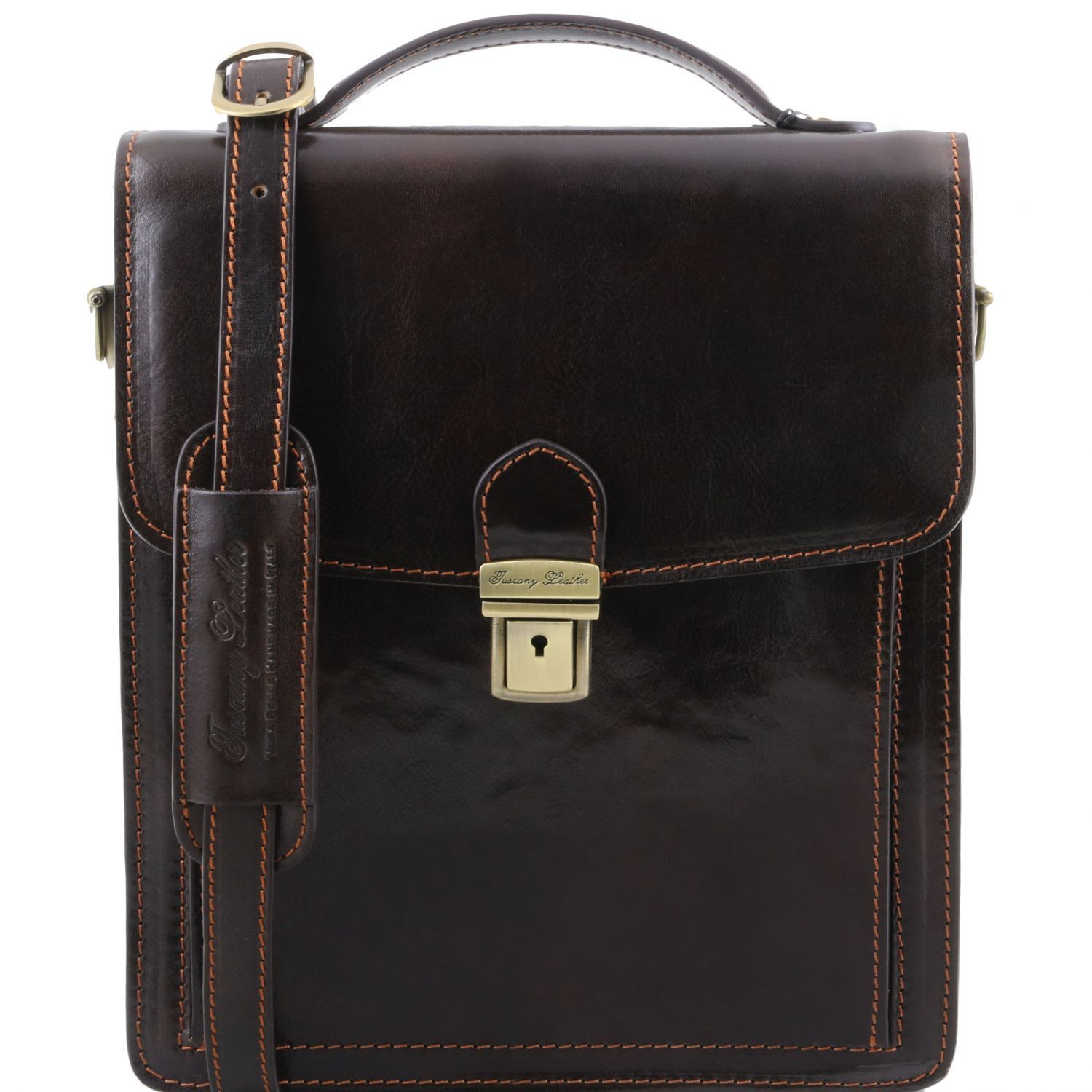 Tuscany Leather 1st Class 'David' Men's Leather Crossbody Bag - Large Messenger Bag Tuscany Leather Dark Brown