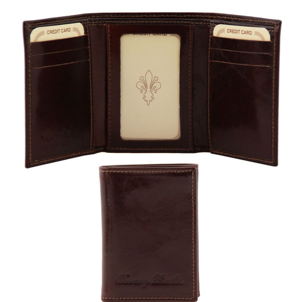 Tuscany Leather Exclusive Classic 3 Fold Men's Leather Wallet (TL140801) Wallets Tuscany Leather Dark Brown