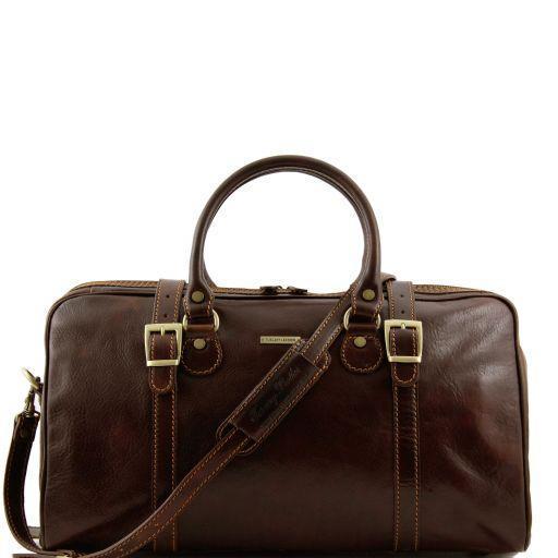 Tuscany Leather 'Berlin' Travel Leather Duffle Bag-Small Duffle Bag Tuscany Leather Dark Brown