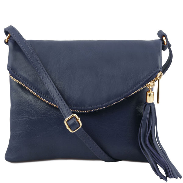 Tuscany Leather 'TL Bag' Young Shoulder Bag With Tassel (TL141153) Ladies Shoulder Bag Tuscany Leather Dark Blue