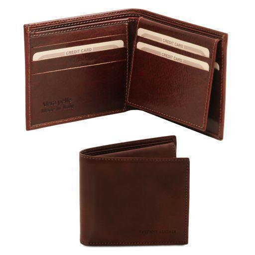 Tuscany Leather Exclusive Classic 3 Fold Leather Card Holder Wallet For Men (TL141353) Wallets Tuscany Leather Dark Brown