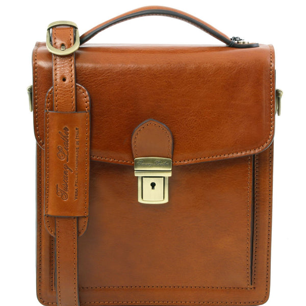 Tuscany Leather 1st Class 'David' Men's Leather Crossbody Bag - Small Messenger Bag Tuscany Leather Honey