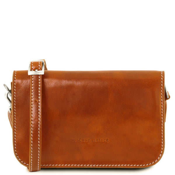 Tuscany Leather Classic 'Carmen' Leather Shoulder Bag With Flap Ladies Shoulder Bag Tuscany Leather Honey