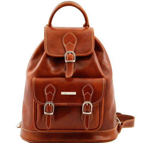 Tuscany Leather Classic Singapore Leather Backpack Backpack Tuscany Leather Honey