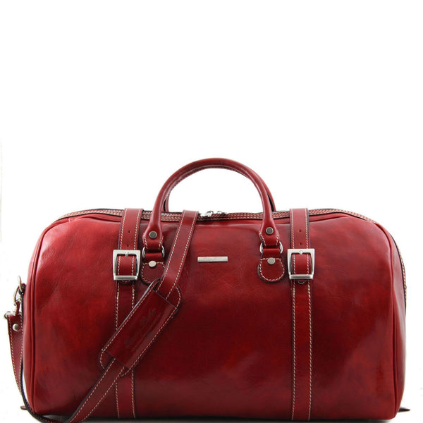 Tuscany Leather 'Berlin' Travel Leather Duffle Bag-Large Duffle Bag Tuscany Leather Red