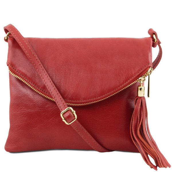 Tuscany Leather 'TL Bag' Young Shoulder Bag With Tassel (TL141153) Ladies Shoulder Bag Tuscany Leather Red