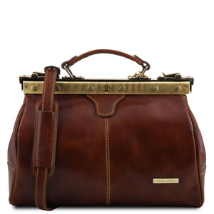 Tuscany Leather 'Michelangelo' Leather Gladstone Doctors Bag Doctors Bags Tuscany Leather Brown