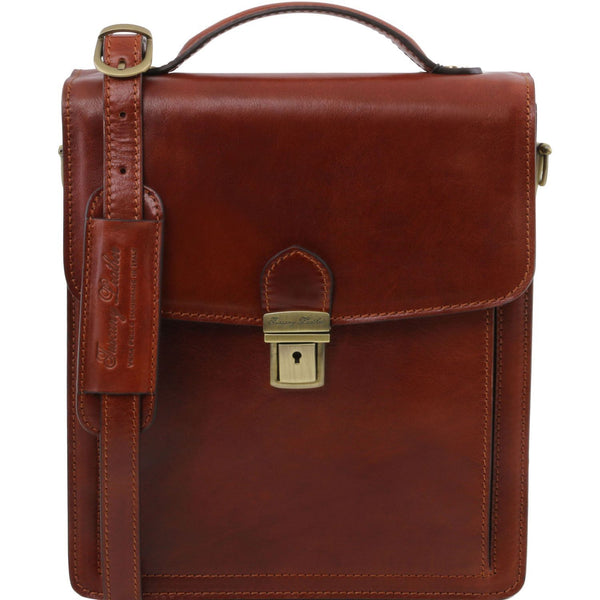 Tuscany Leather 1st Class 'David' Men's Leather Crossbody Bag - Large Messenger Bag Tuscany Leather Brown