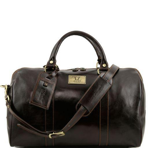 Tuscany Leather Small 'TL Voyager' Travel Leather Duffle Bag - Small Duffle Bag Tuscany Leather Dark Brown