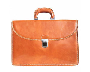 Made In Tuscany 'Tre Scomparti' Genuine Leather Briefcase Laptop Briefcase Made in Tuscany Tan