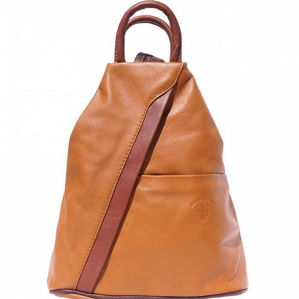 'Vanna' Contrast Colour Italian Leather Backpack Backpack Made in Tuscany Tan/Brown