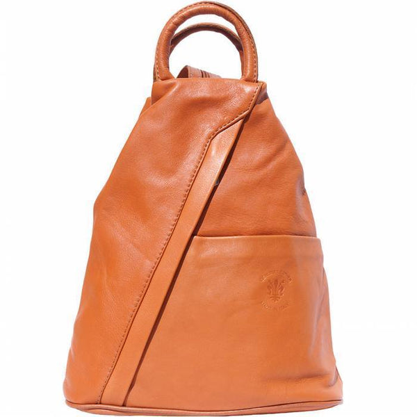 'Vanna' Contrast Colour Italian Leather Backpack Backpack Made in Tuscany Tan