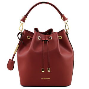 Tuscany Leather 'Vittoria Ruga' Leather Secchiello Handbag Handbag Tuscany Leather Red