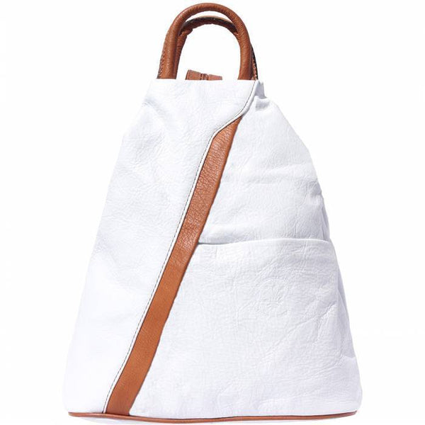 'Vanna' Contrast Colour Italian Leather Backpack Backpack Made in Tuscany White/Tan