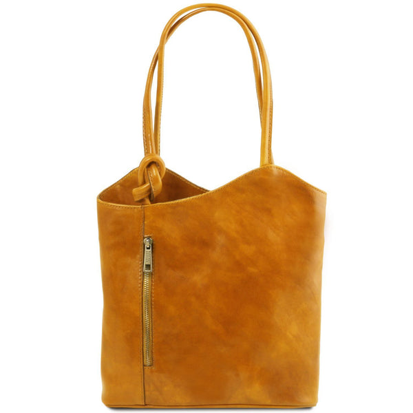 Tuscany Leather Patty Leather Convertible Bag/Backpack Ladies Shoulder Bag Tuscany Leather Yellow