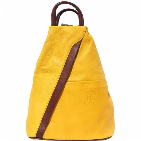 'Vanna' Contrast Colour Italian Leather Backpack Backpack Made in Tuscany Yellow/Brown