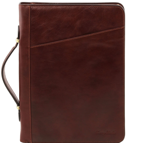 Tuscany Leather 1st Class 'Claudio' Exclusive Leather Portfolio Document Case With Handle Leather Document/Portfolio Case Tuscany Leather Brown