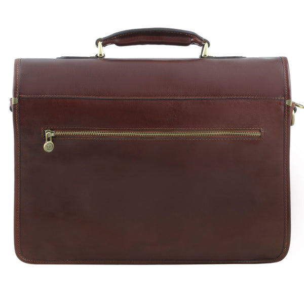 Tuscany Leather 1st Class 'Vernazza' Leather Laptop 3 Compartment Briefcase Laptop Briefcase Tuscany Leather