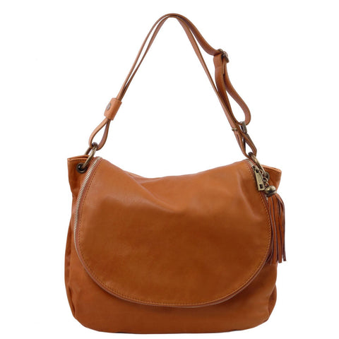 Tuscany Leather 'TL Bag' Soft Leather Shoulder Bag With Tassel Detail (TL141110)