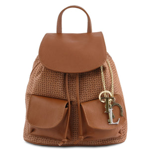 Tuscany Leather 'TL Keyluck' Woven printed leather backpack