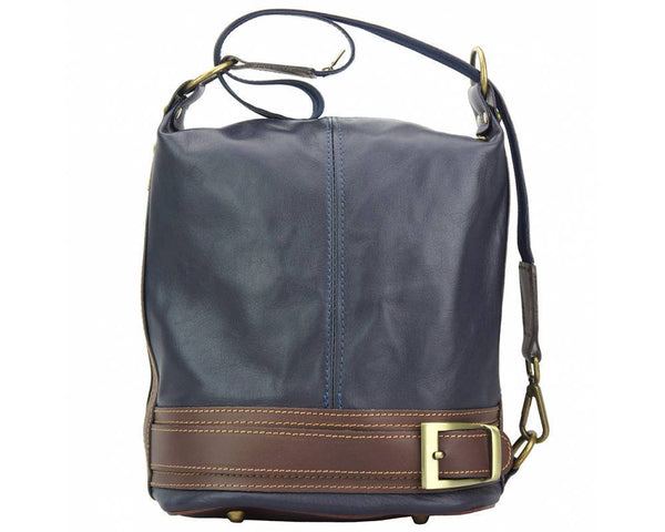 Made In Tuscany 'Caterina' Leather Backpack Backpack Made in Tuscany Dark Blue/Brown