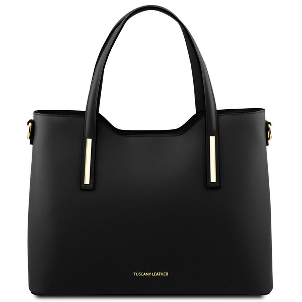 Tuscany Leather 'Olimpia' Leather Shopping Tote Bag (Large) Ladies Shoulder Bag Tuscany Leather Black