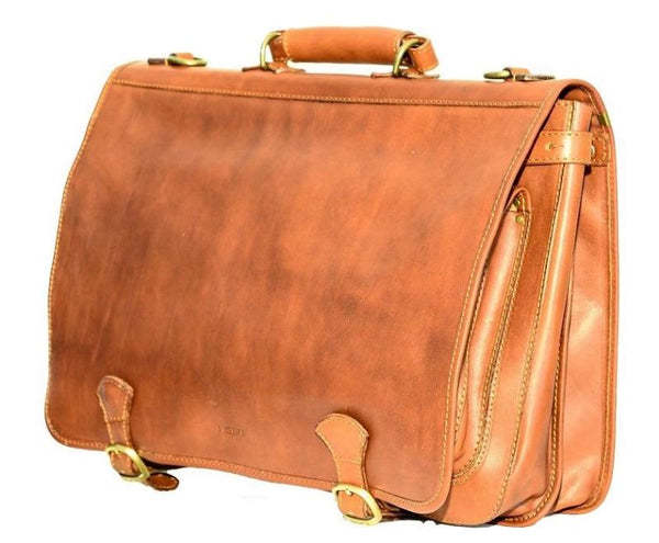 "I Medici Italian ""Cartellone"" Double Space For Laptop Briefcase I Medici Italian"