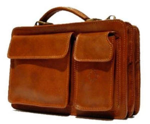 "I Medici Italian ""Women Leather"" Briefcase – Classic Briefcase I Medici Italian Brown"