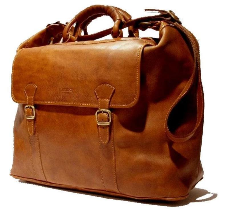 "I Medici Italian ""Comfortable"" Leather Duffel Bag Duffle Bag I Medici Italian Brown"