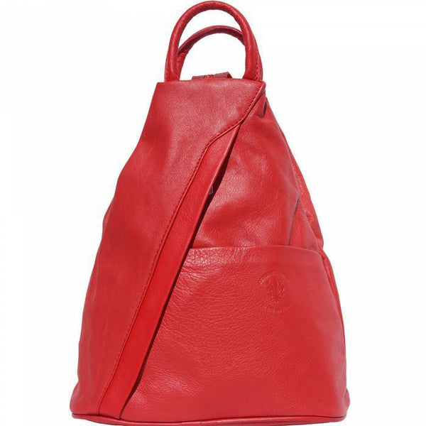 'Vanna' Contrast Colour Italian Leather Backpack Backpack Made in Tuscany Light Red