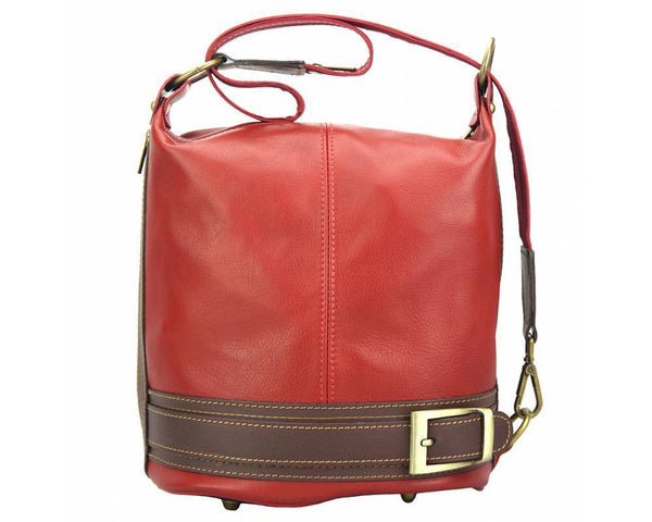 Made In Tuscany 'Caterina' Leather Backpack Backpack Made in Tuscany Red/Brown
