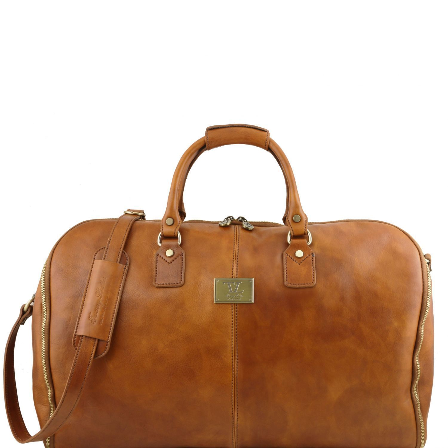 Tuscany Leather Antigua Leather Garment/Suit Carrier And Duffel Combo Suit Carrier Tuscany Leather Natural