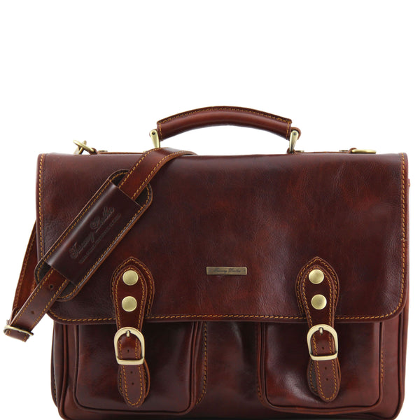 Tuscany Leather 'Modena' Leather Briefcase Laptop Briefcase Tuscany Leather Brown