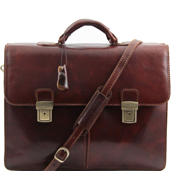 Tuscany Leather Classic 'Bolgheri' Leather Briefcase Laptop Briefcase Tuscany Leather Brown