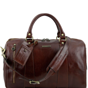 Tuscany Leather 'TL Voyager' Travel Leather Duffle Bag - Small (TL141216) Duffle Bag Tuscany Leather Brown