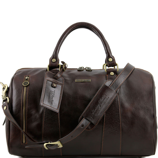 Tuscany Leather 'TL Voyager' Travel Leather Duffle Bag - Small (TL141216) Duffle Bag Tuscany Leather Dark Brown