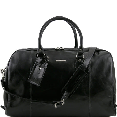 Tuscany Leather 'TL Voyager' Travel Leather Duffle Bag - Medium (TL141218) Duffle Bag Tuscany Leather Black