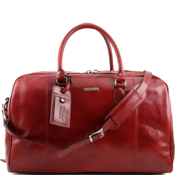 Tuscany Leather 'TL Voyager' Travel Leather Duffle Bag - Medium (TL141218) Duffle Bag Tuscany Leather Red