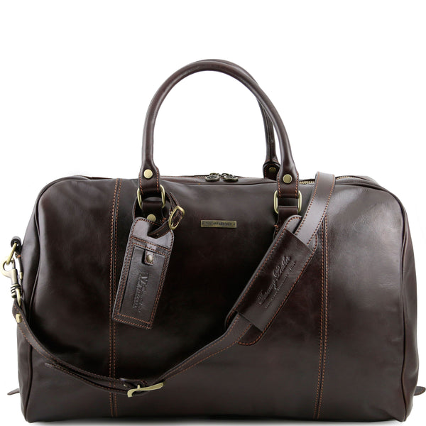 Tuscany Leather 'TL Voyager' Travel Leather Duffle Bag - Medium (TL141218) Duffle Bag Tuscany Leather Dark Brown